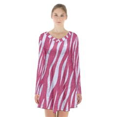 SKIN3 WHITE MARBLE & PINK DENIM Long Sleeve Velvet V-neck Dress