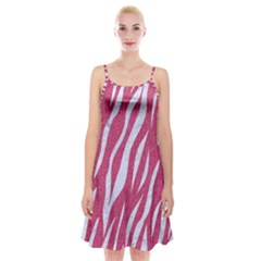 SKIN3 WHITE MARBLE & PINK DENIM Spaghetti Strap Velvet Dress