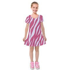 SKIN3 WHITE MARBLE & PINK DENIM Kids  Short Sleeve Velvet Dress