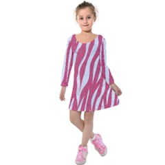 SKIN3 WHITE MARBLE & PINK DENIM Kids  Long Sleeve Velvet Dress