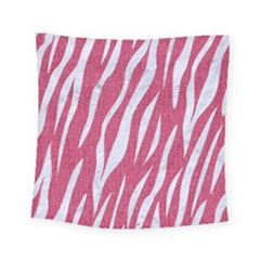 SKIN3 WHITE MARBLE & PINK DENIM Square Tapestry (Small)
