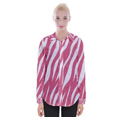 SKIN3 WHITE MARBLE & PINK DENIM Womens Long Sleeve Shirt