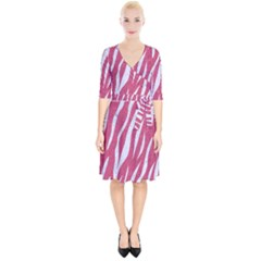 SKIN3 WHITE MARBLE & PINK DENIM Wrap Up Cocktail Dress