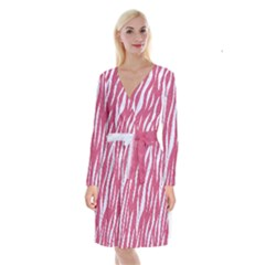 SKIN3 WHITE MARBLE & PINK DENIM Long Sleeve Velvet Front Wrap Dress