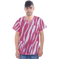 SKIN3 WHITE MARBLE & PINK DENIM Men s V-Neck Scrub Top