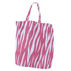 SKIN3 WHITE MARBLE & PINK DENIM Giant Grocery Zipper Tote