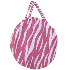 SKIN3 WHITE MARBLE & PINK DENIM Giant Round Zipper Tote