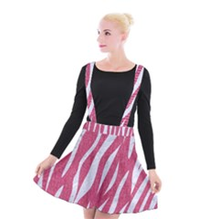 SKIN3 WHITE MARBLE & PINK DENIM Suspender Skater Skirt