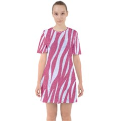 SKIN3 WHITE MARBLE & PINK DENIM Sixties Short Sleeve Mini Dress