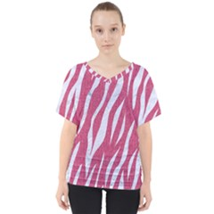SKIN3 WHITE MARBLE & PINK DENIM V-Neck Dolman Drape Top