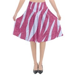 SKIN3 WHITE MARBLE & PINK DENIM Flared Midi Skirt