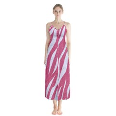SKIN3 WHITE MARBLE & PINK DENIM Button Up Chiffon Maxi Dress