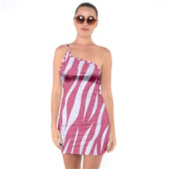 SKIN3 WHITE MARBLE & PINK DENIM One Soulder Bodycon Dress