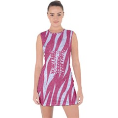 SKIN3 WHITE MARBLE & PINK DENIM Lace Up Front Bodycon Dress