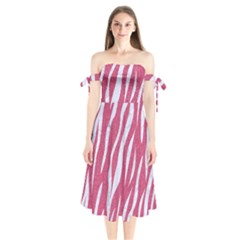 SKIN3 WHITE MARBLE & PINK DENIM Shoulder Tie Bardot Midi Dress