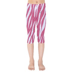SKIN3 WHITE MARBLE & PINK DENIM Kids  Capri Leggings