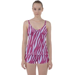 SKIN3 WHITE MARBLE & PINK DENIM Tie Front Two Piece Tankini