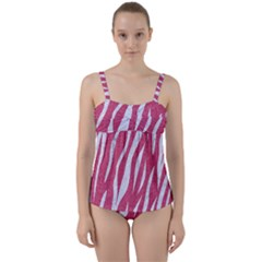 SKIN3 WHITE MARBLE & PINK DENIM Twist Front Tankini Set