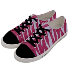 SKIN3 WHITE MARBLE & PINK DENIM Men s Low Top Canvas Sneakers