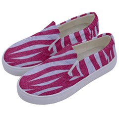 SKIN3 WHITE MARBLE & PINK DENIM Kids  Canvas Slip Ons