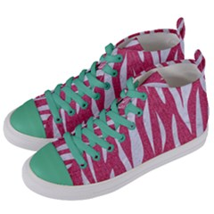 SKIN3 WHITE MARBLE & PINK DENIM Women s Mid-Top Canvas Sneakers
