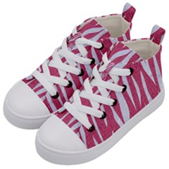 SKIN3 WHITE MARBLE & PINK DENIM Kid s Mid-Top Canvas Sneakers