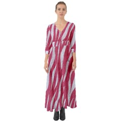 SKIN3 WHITE MARBLE & PINK DENIM Button Up Boho Maxi Dress