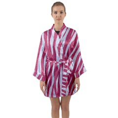 SKIN3 WHITE MARBLE & PINK DENIM Long Sleeve Kimono Robe
