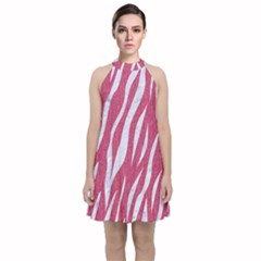 Skin3 White Marble & Pink Denim Velvet Halter Neckline Dress