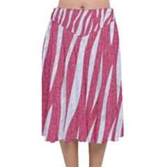 SKIN3 WHITE MARBLE & PINK DENIM Velvet Flared Midi Skirt