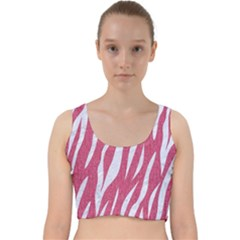 SKIN3 WHITE MARBLE & PINK DENIM Velvet Racer Back Crop Top