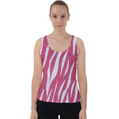 SKIN3 WHITE MARBLE & PINK DENIM Velvet Tank Top