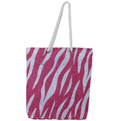 SKIN3 WHITE MARBLE & PINK DENIM Full Print Rope Handle Tote (Large)
