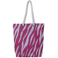 SKIN3 WHITE MARBLE & PINK DENIM Full Print Rope Handle Tote (Small)