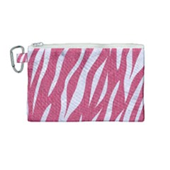 SKIN3 WHITE MARBLE & PINK DENIM Canvas Cosmetic Bag (Medium)