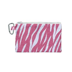 SKIN3 WHITE MARBLE & PINK DENIM Canvas Cosmetic Bag (Small)