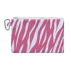 SKIN3 WHITE MARBLE & PINK DENIM Canvas Cosmetic Bag (Large)