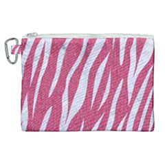 SKIN3 WHITE MARBLE & PINK DENIM Canvas Cosmetic Bag (XL)