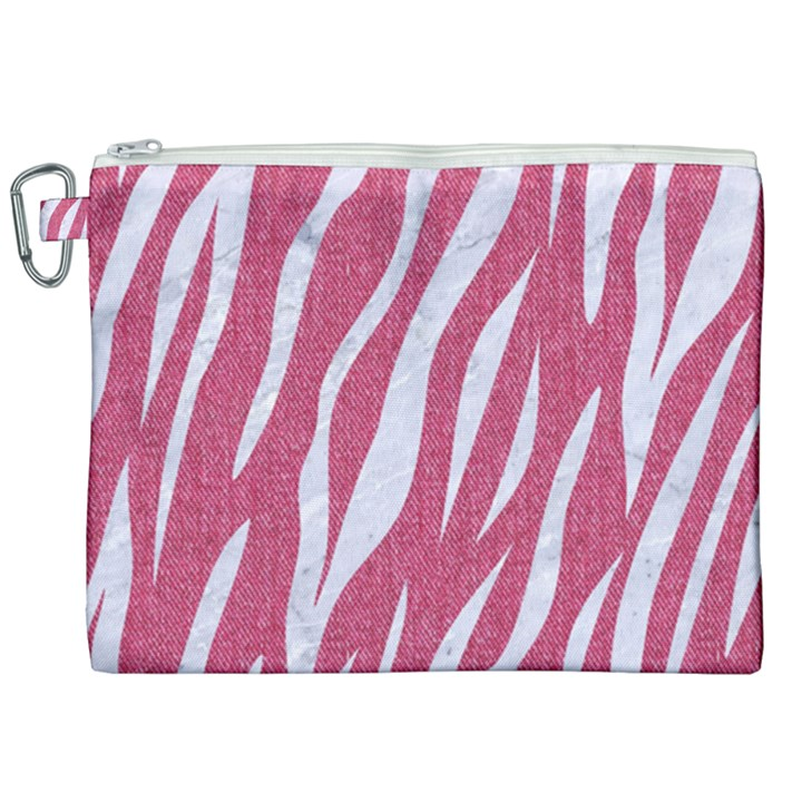 SKIN3 WHITE MARBLE & PINK DENIM Canvas Cosmetic Bag (XXL)