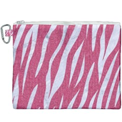 Skin3 White Marble & Pink Denim Canvas Cosmetic Bag (xxxl) by trendistuff