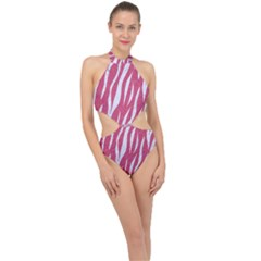 SKIN3 WHITE MARBLE & PINK DENIM Halter Side Cut Swimsuit