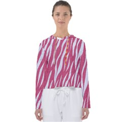 SKIN3 WHITE MARBLE & PINK DENIM Women s Slouchy Sweat