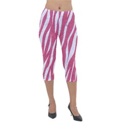 SKIN3 WHITE MARBLE & PINK DENIM Lightweight Velour Capri Leggings