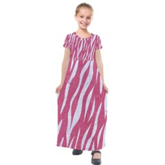 SKIN3 WHITE MARBLE & PINK DENIM Kids  Short Sleeve Maxi Dress