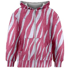 SKIN3 WHITE MARBLE & PINK DENIM Kids Zipper Hoodie Without Drawstring