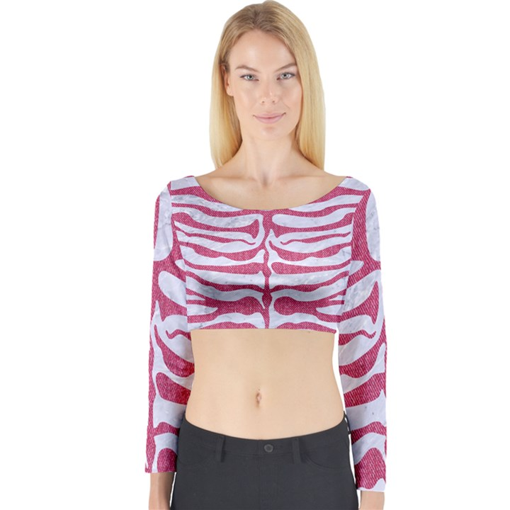 SKIN2 WHITE MARBLE & PINK DENIM (R) Long Sleeve Crop Top