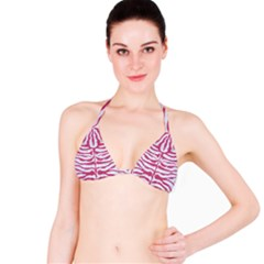 Skin2 White Marble & Pink Denim (r) Bikini Top by trendistuff