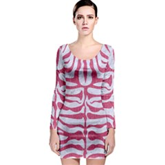 Skin2 White Marble & Pink Denim (r) Long Sleeve Bodycon Dress by trendistuff