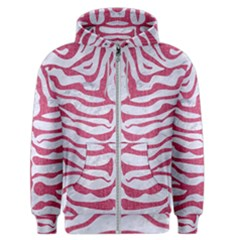 Skin2 White Marble & Pink Denim (r) Men s Zipper Hoodie