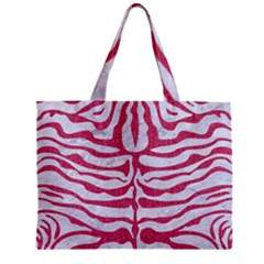 Skin2 White Marble & Pink Denim (r) Zipper Mini Tote Bag by trendistuff